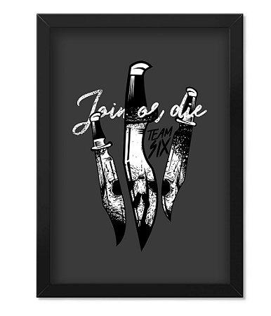 Poster Militar Concept com Moldura Tactical Knife Join Or Die