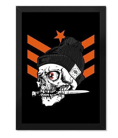 Poster Militar Concept com Moldura knife Skull Squad