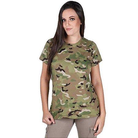 Camiseta Feminina Bélica Soldier Camuflada Multicam Manga Curta