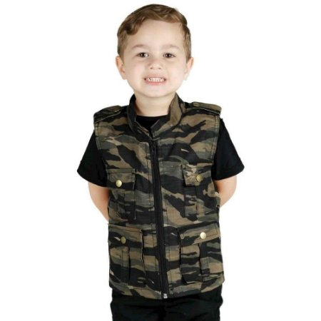 Colete Infantil Army Camuflado Tiger Jungle Treme Terra