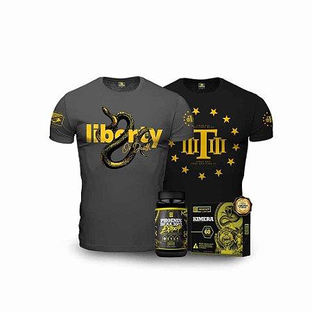 Kit Liberty Snake Extreme Tático - 2 Camisetas Militares + Kimera + BCAA