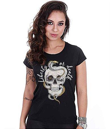Camiseta Baby Look Feminina Squad T6 Magnata Liberty Or Death
