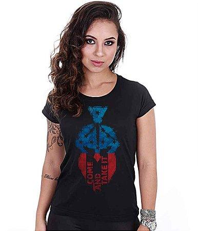 Camiseta Baby Look Feminina Squad T6 Magnata Come And Take It