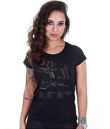 Camiseta Baby Look Feminina Squad T6 Magnata Glock Parts