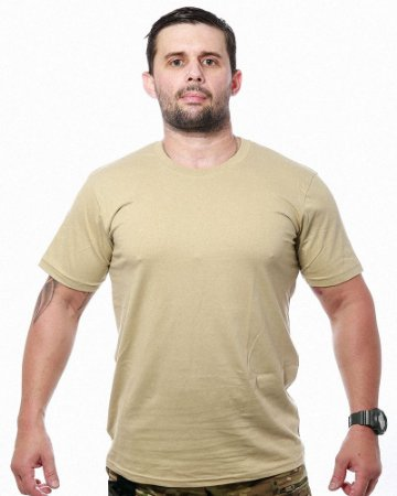 Camiseta Básica Lisa Team Six Bege Tático Militar 100% Algodão