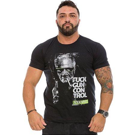 Camiseta Militar Casual Vidi Vici Fuck Gun Control