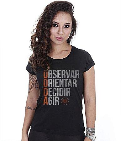 Camiseta Militar Baby Look Feminina Ciclo Ooda Observar Orientar Decidir Agir Team Six