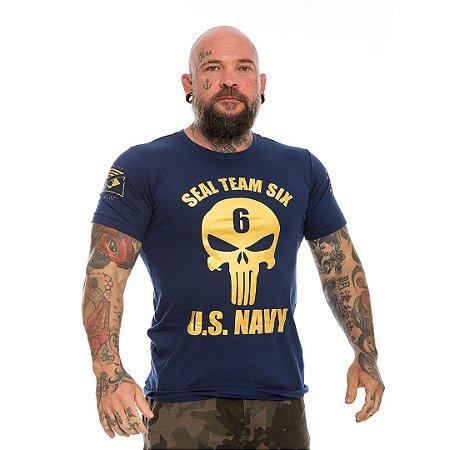 Camiseta Militar Punisher Seal Team Six US Navy Gold Line
