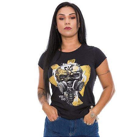 Camiseta Militar Baby Look Vidi Vici Pandemia Apocalipse