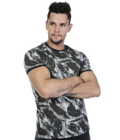 Camiseta Militar Camuflada Preta Reforçada 100% Algodão