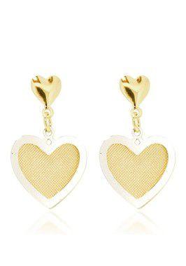 Brinco dois corpos forma de coração em Rhodium - Semi Jóia Folheada a Ouro 18K