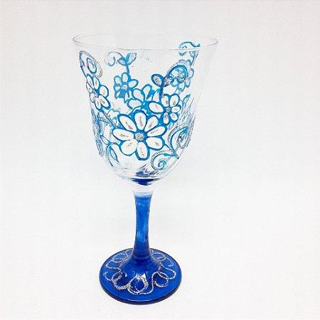 Taça - Flores Azuis