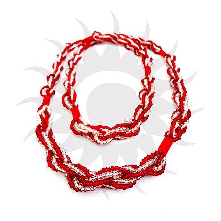 Brajá - Vermelho  com Transparente 7 Fios