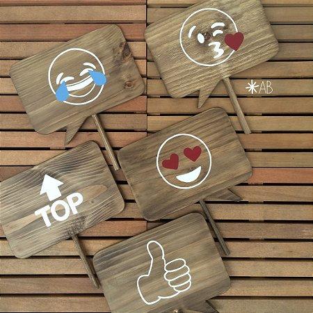 Plaquinhas de pista de dança com emojis (5 unid.)
