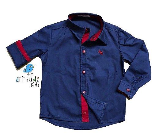 Camisa Léo - Azul Marinho e Vermelho
