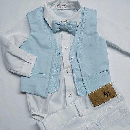 Conjunto Leon - Azul Bebê e Branco (três peças)