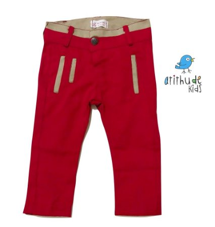Calça Sarja - Vermelha | Detalhes em Bege