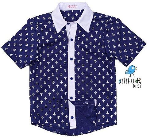 Camisa Guillermo - Estampa âncora | Azul Marinho
