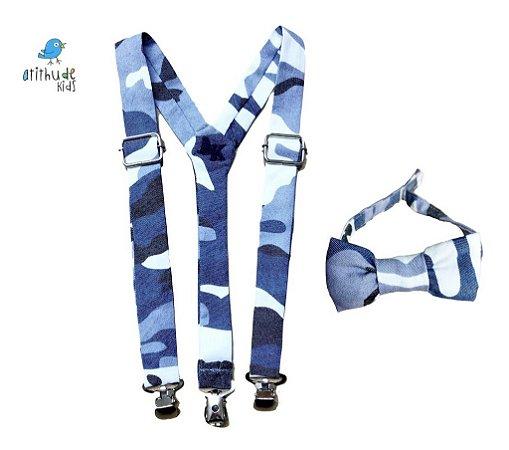 Kit suspensório + gravata borboleta - camuflado