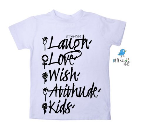 Camiseta Ria, Ame, Deseje, Atithude, Kids - Branca
