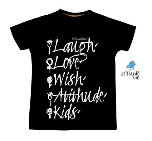 Camiseta Ria, Ame, Deseje, Atithude, Kids - Preta