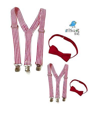 Kit suspensório + gravata borboleta - Listrado (4 peças - adulto e infantil)