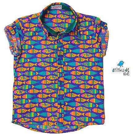 Camisa Alberto - Estampa Peixinhos | Fundo do Mar
