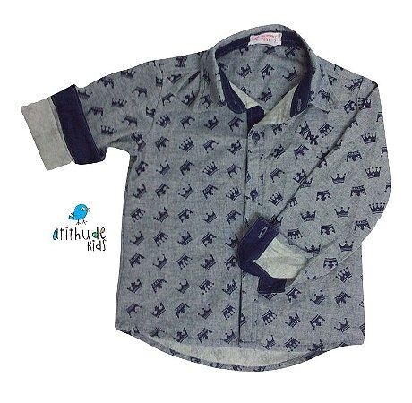 Camisa Aldo - Azul Marinho Estampa Coroas | Pequeno Príncipe