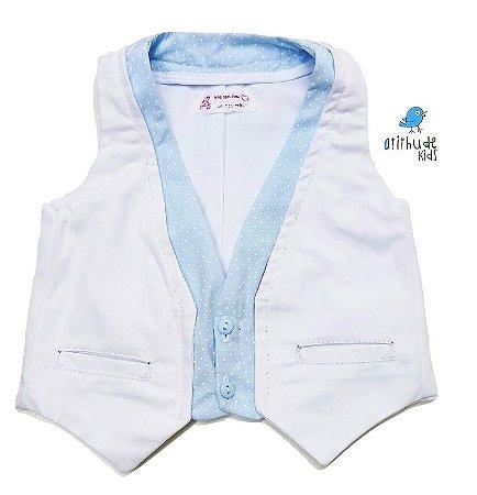 Colete Justin - Azul Branco com poá azul bebê