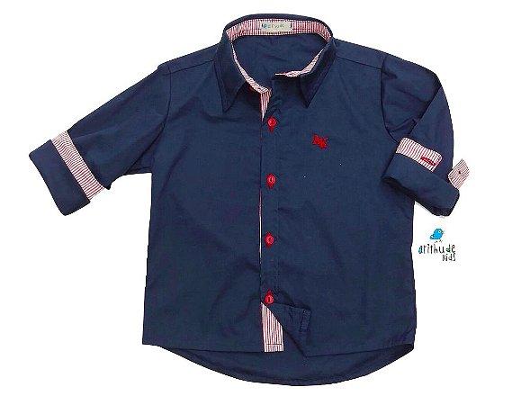 Camisa Heine - Azul Marinho com detalhe em listrado vermelho