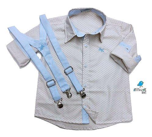 Conjunto Alec - Poá bege com detalhes em azul bebê (3 peças)