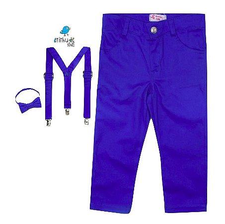 Conjunto Pablo - Calça Azul Royal e Kit Supensorio  (três peças)