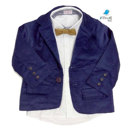 Blazer Scott - Veludo Cotelê Azul Marinho | Com forro