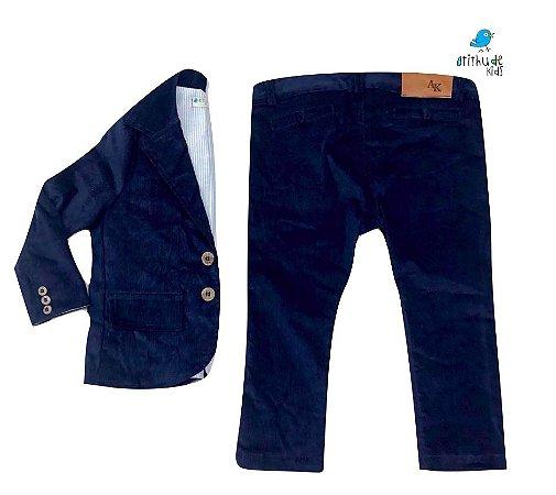 Conjunto Scott - Veludo Azul Marinho | Calça e Blazer