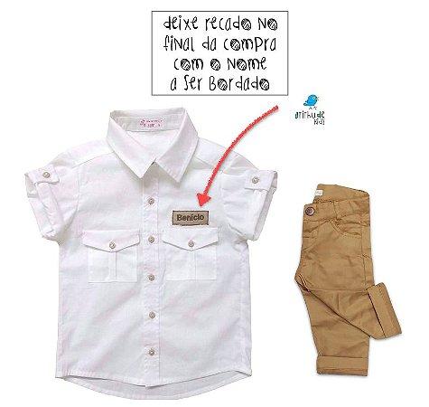 Conjunto Sandro - Safari (2 peças) | Personalizado com nome do bebê  | Bege café