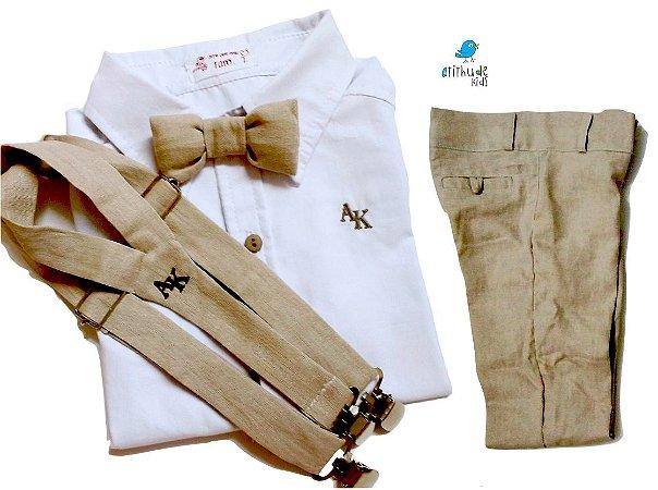 Conjunto Fausto - Calça Alfaiataria Linho, camisa e acessórios (4 peças) | Bege Claro