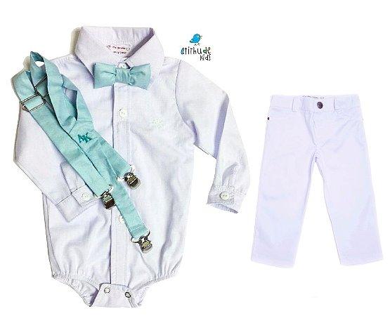 Conjunto Antony  - Branco com verde água - Calça e Camisa (4 peças)
