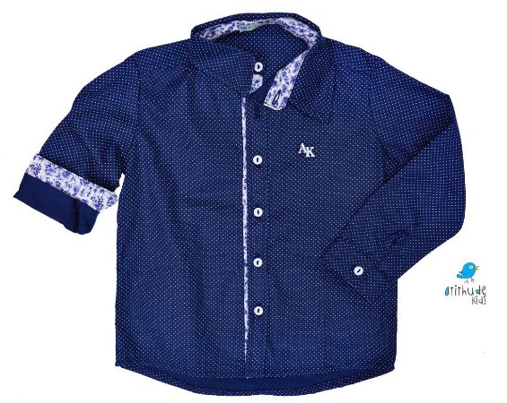 Camisa Arthur - Azul Marinho poá com detalhes floral