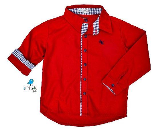Camisa Isaac - Vermelha escura com detalhes em xadrez azul escuro | Carros
