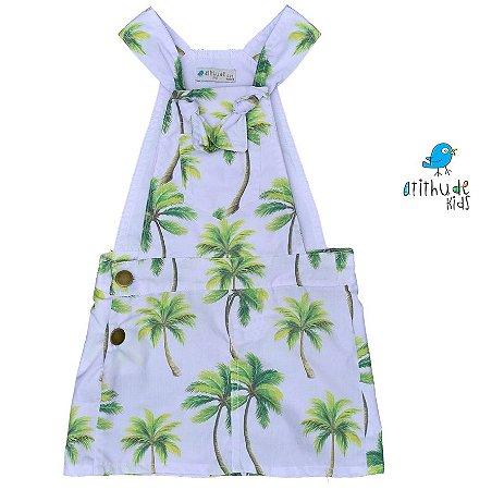 Vestido Jardineira Martina - Sarja | Estampa Palmeiras | Safari