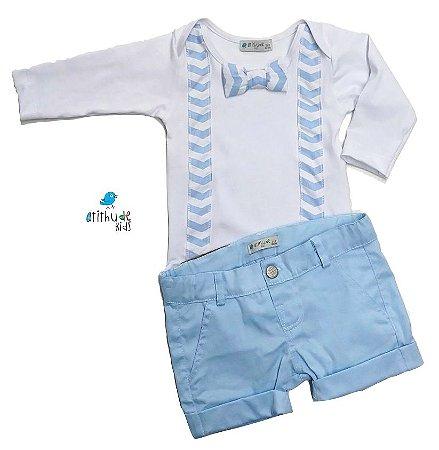 Conjunto Otto  - Body e Bermuda (Duas peças) | Branco e Azul Bebê
