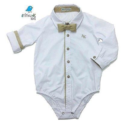 Camisa Rocco - Branca com Bege  (vem com a gravata)  | Batizado