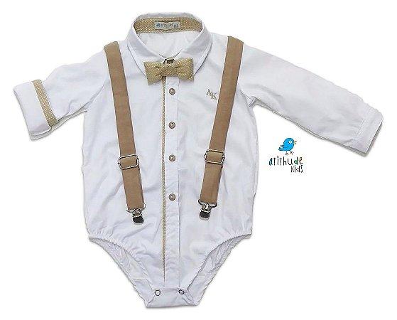 Camisa Rocco - Branca com Bege (três peças) | Batizado | Pajem