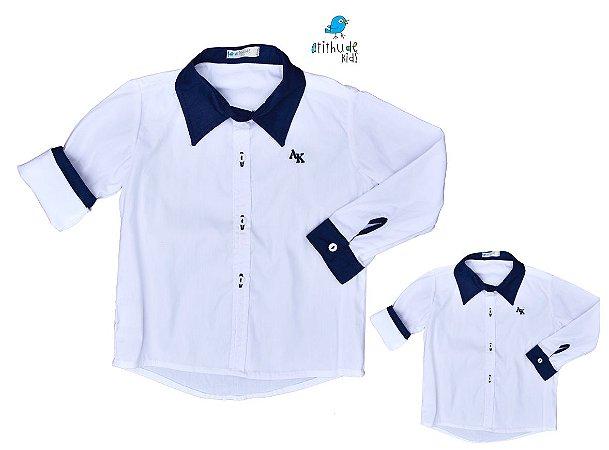 Kit camisa Antony - Tal pai, tal filho (duas peças) | Branca com detalhe azul Marinho