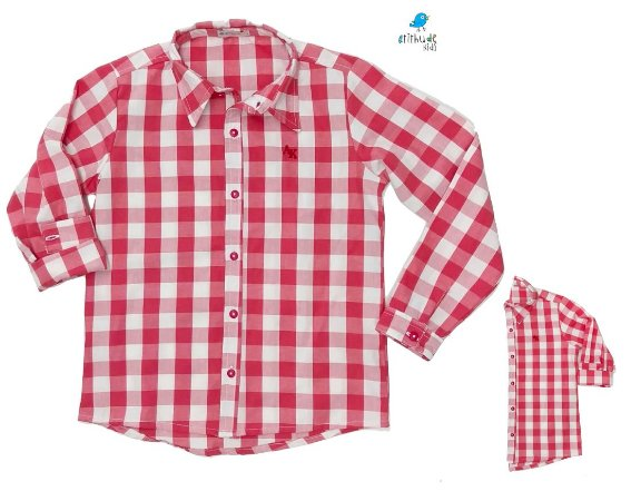 Kit camisa Cadú - Tal pai, tal filho (duas peças) | Xadrez Vermelho Claro