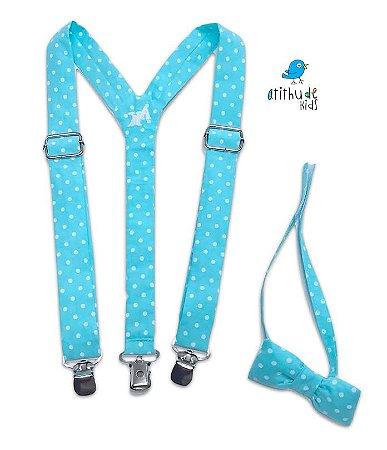 Kit suspensório + gravata borboleta | Poá Azul Turquesa | Galinha Pintadinha
