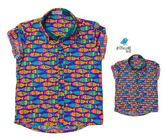 Kit camisa Alberto - Tal pai, tal filho (duas peças) | Fundo do mar