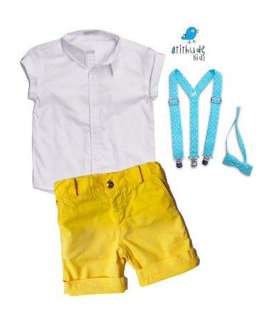 Conjunto Antony - Camisa amarela e Bermuda branca (quatro peças) | Galinha Pintadinha