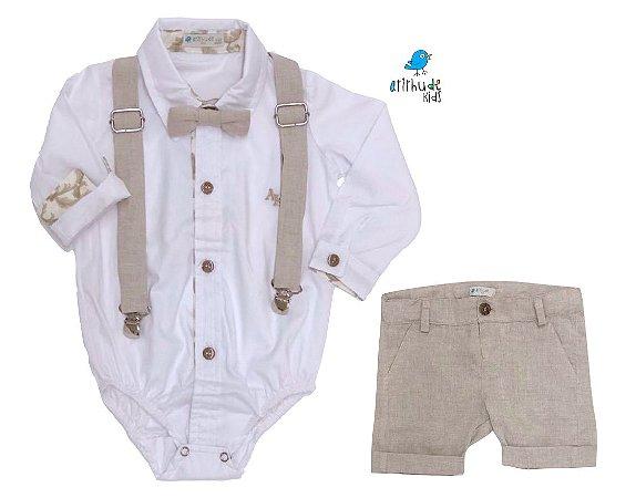 Conjunto Fausto - Camisa Branca e Bermuda Bege Linho (quatro peças) | Linho