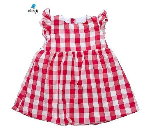 Vestido Carol - Xadrez Vermelho